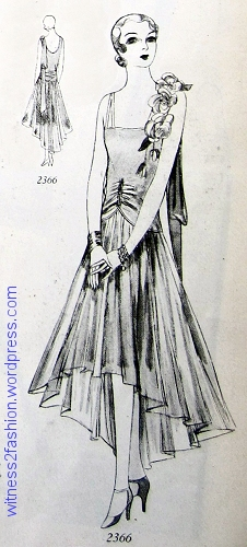 Butterick 2366, evening or bridesmaid's gown for young women. Dec. 1928.