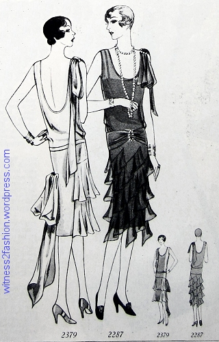 Two Formal Frocks from Delineator, December 1928. Butterick patterns 2379 and 2287.