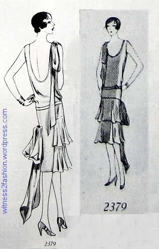 Butterick formal evening gown pattern 2379; Dec. 1928.