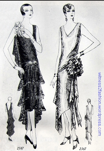 Butterick evening patterns 2347 and 2367, Delineator, December 1928