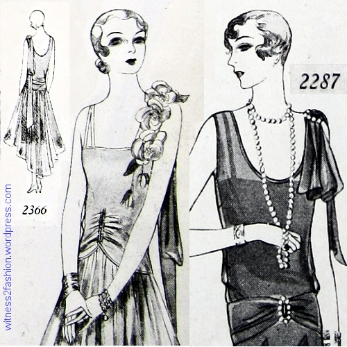 "2366 has ""lingerie straps;"" usually these slip straps were only visible when veiled by a more substantial chiffon or lace dress shoulder, as in Butterick 2287."
