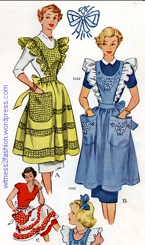 Even the pockets on aprons got bigger: McCall pattern 1532, from a 1950 Needlework catalog.