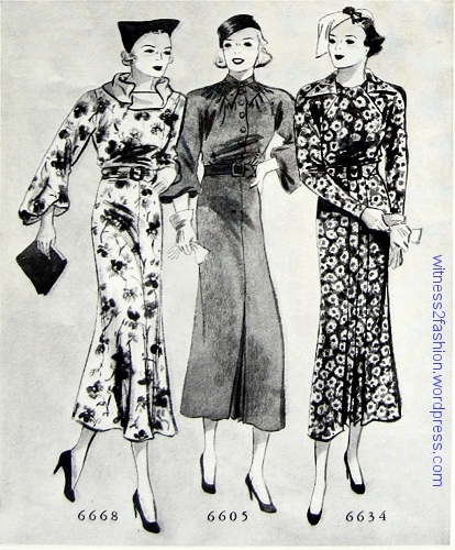 Butterick print dresses from 1936. Left, pattern 6668, right pattern 6634. The dress in the middle is Butterick 6605. All from Delineator, Feb. 1936.