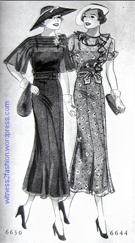 Butterick 6630, shown in sheer fabric, and 6634 in a floral print. Delineator, February 1936, p. 37.