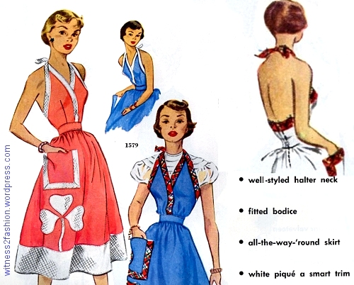 McCall 1579 could be worn as a sundress or an apron. Needlework catalog, November 1950.