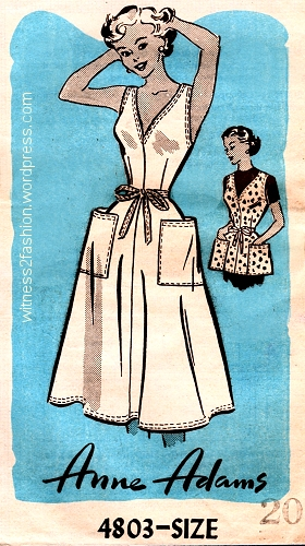 A pattern sold through newspapers in 1956: Anne Adams pattern 4803. Big pockets visually widen the hips.