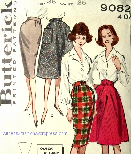 Butterik skirt pattern 9082, from 1959. The big pockets were optional.