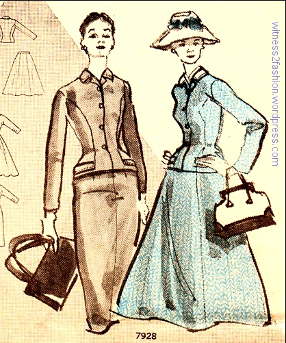 Butterick suit 7928 has one jacket and two skirt options, narrow or full. BFN, October 1956.