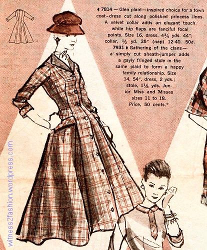 Coat-dress from Butterick pattern 7814, from Butterick Fashion News, October 1956.