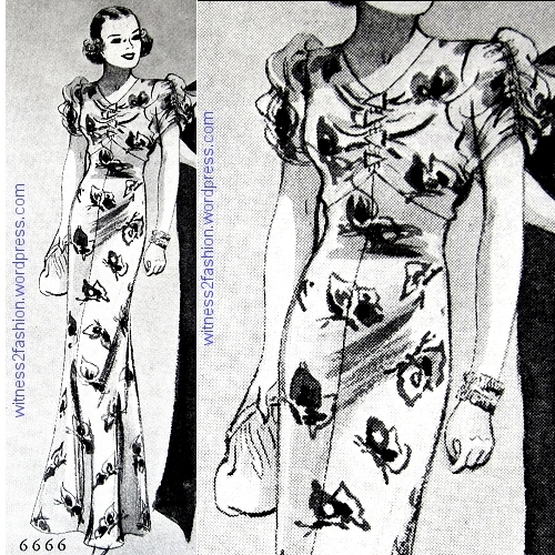 Butterick 6666, a print fabric covered with large butterflies. Delineator, Feb. 1936.