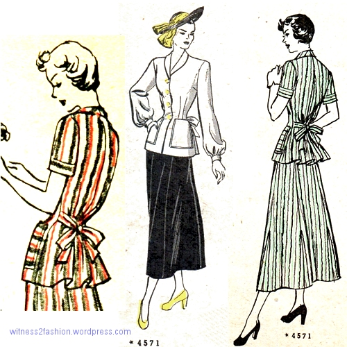 Butterick 4571, a jacket with fitted front and full back, appeared in Butterick Fashion News July and August 1948.