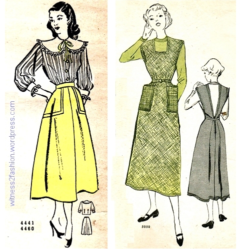 Butterick skirt 4460 from March 1948; Butterick Jumper 505o from November 1949. Butterick Fashion News flyers.
