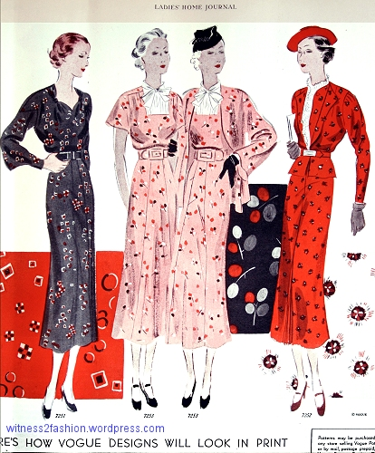 Vogue patterns 7251, 7253, and 7252, from Ladies' Home Journal, February 1936, p. 25.