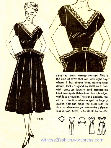 Butterick 5529 uses big, decorated pockets to make the waist look smaller by contrast. Butterick Fashion News, January 1951.