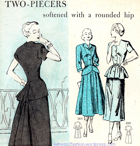 Peplums give the impression of a wider hip and tiny waist on these Simplicity patterns for April, 1948.