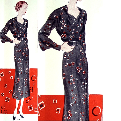 Vogue 7251, illustrated in a foulard print with either a black ground or a red ground. Ladies' Home Journal, February 1936.