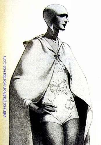A Schiaparelli swimsuit and hooded coverup illustrated in Delineator, July 1929.