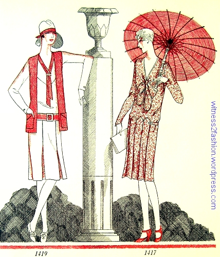 Butterick patterns 1419 and 1417, illustrated in red, black and white by Delineator, May 1927.