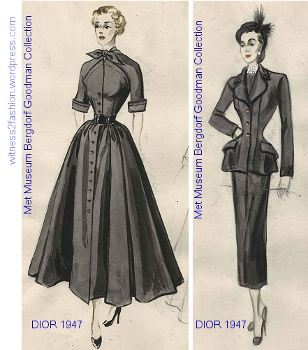 A Dior dress and Dior Suit, 1947. The jacket has padded hhips accented with large pockets. Sketches from the Bergdorf Goodman Sketch Collection at the Metropolitan Museum.