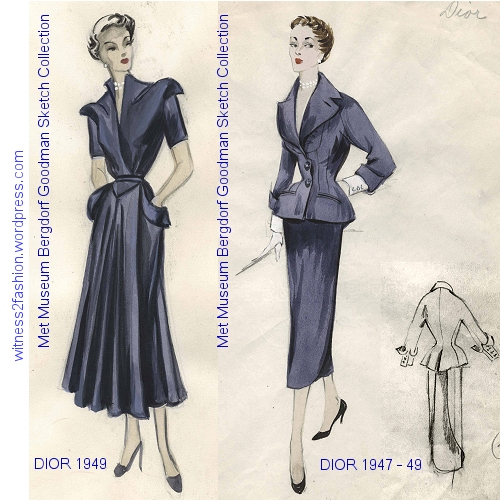 A 1949 Dior dress with pockets reminiscent of 1917, and a Dior Suit, not dated, but from the period 1947 to 1949. Bergdorf Goodman Sketch Collection at the Metropolitan Museum.
