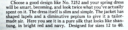 Pattern description for Vogue 7252, 1936.