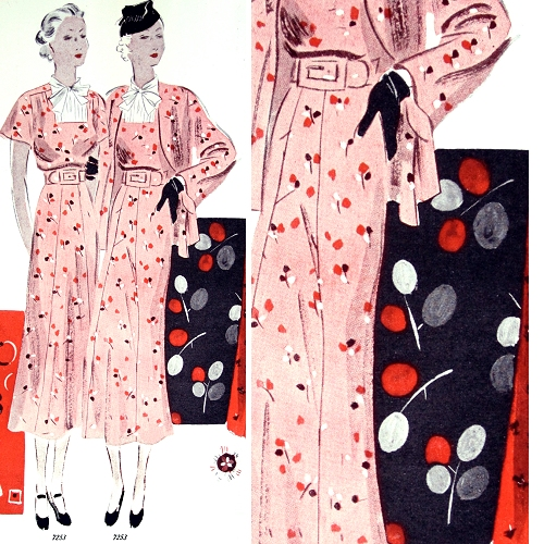 Vogue pattern 7253, for a dress and matching jacket. Ladies' Home Journal, February 1936.
