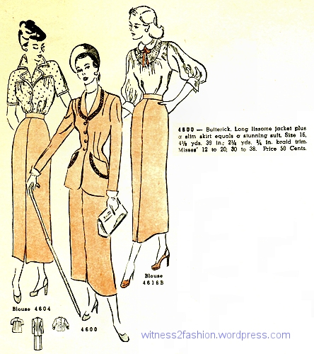 Butterick jacket 4616 combines with skirt 4600 to make a suit. August 1948.