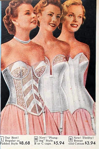 "We called this kind of starpless corset a ""Merry Widow."" If you want to wear vintage fashions from the late forties or fifties, they were designed to be worn over one of these."