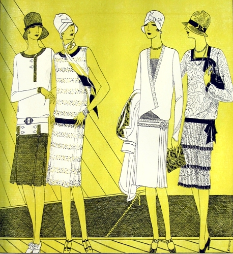 Lages pattern illustration, Delineator, August 1927. Butterick 1555, 1589, 1573, 1384.