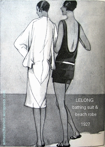 A bathing suit and beach robe by Lelong. Delineator, March 1927.