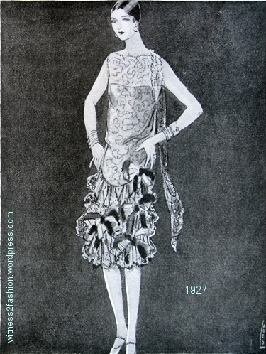 An evening dress made of lace. Delineator, March 1927.