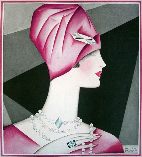 A rose colored outfit is accented with emeral jewelry in this stylized image by Helen Dryden. March 1927.