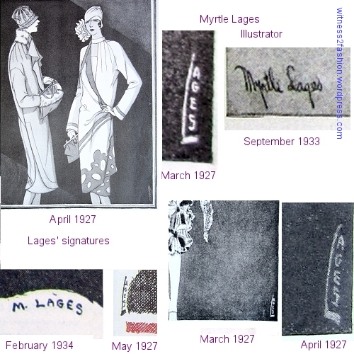 Lages (Myrtle Lages) worked as a fashion illustrator for Delineator, which often used one illustrator for an entire article. Lages usually squeezed her signature modestly into the lower corner of one illustration (probably magazine policy.)
