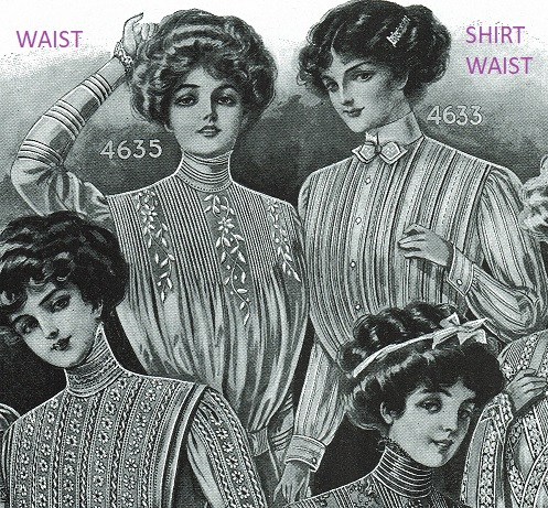 51c3863a9 4633. Left, Waist 4635. Yes! To me, No. 4635 looks like a blouse waist and  4633 looks like a shirt waist. (Page 57.) If only it were this simple.